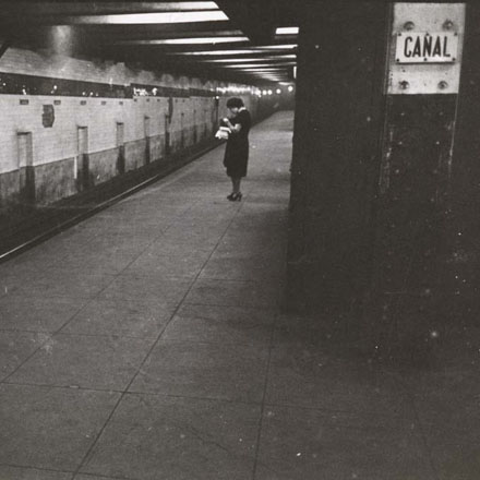 Stanley Kubrick. Life and Love on the New York City Subway. Woman waiting on a subway platform. 1946. Museum of the City of New York. X2011.4.10292.81B