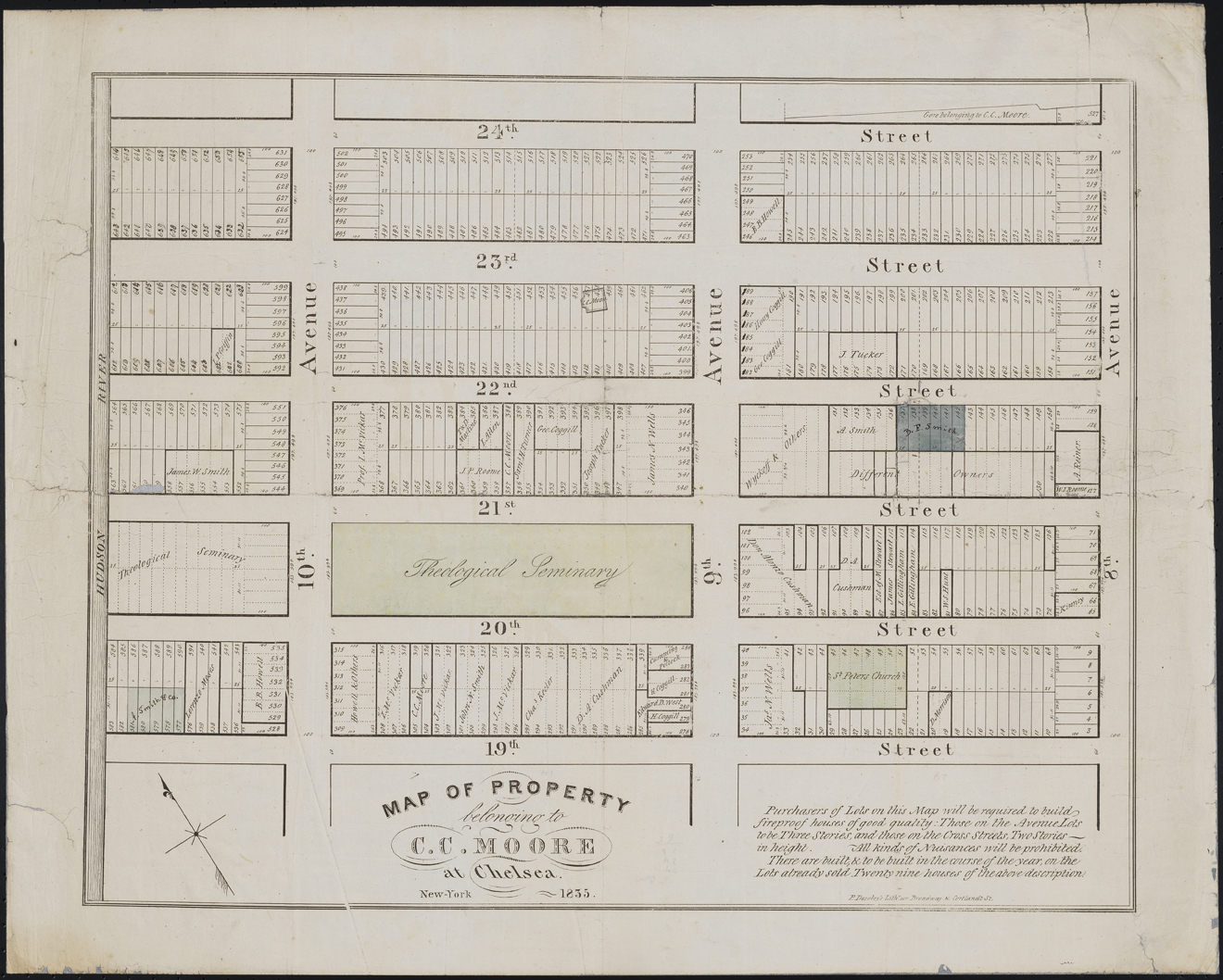 Prosper Desobry. Map of Property belonging to C.C. Moore at Chelsea. 1835. Museum of the City of New York. 47.294.2