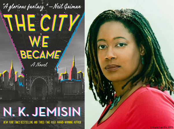 The City We Became book cover, N.K. Jemisin head shot