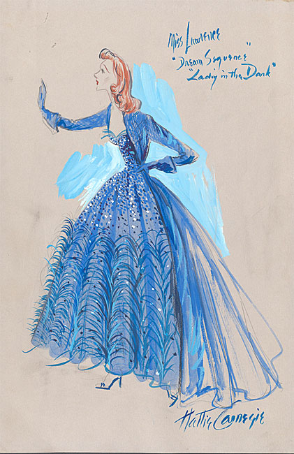 "Costume design in watercolor by Hattie Carnegie of the dress worn by Gertrude Lawrence in the dream sequence of the musical, ""Lady in the Dark""."