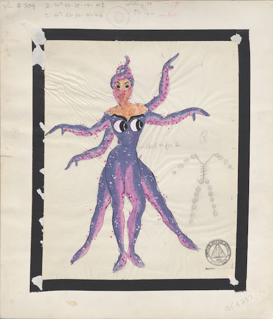 Hand-drawn sketch. Costume design depicting a woman dressed as a pink and purple octopus.