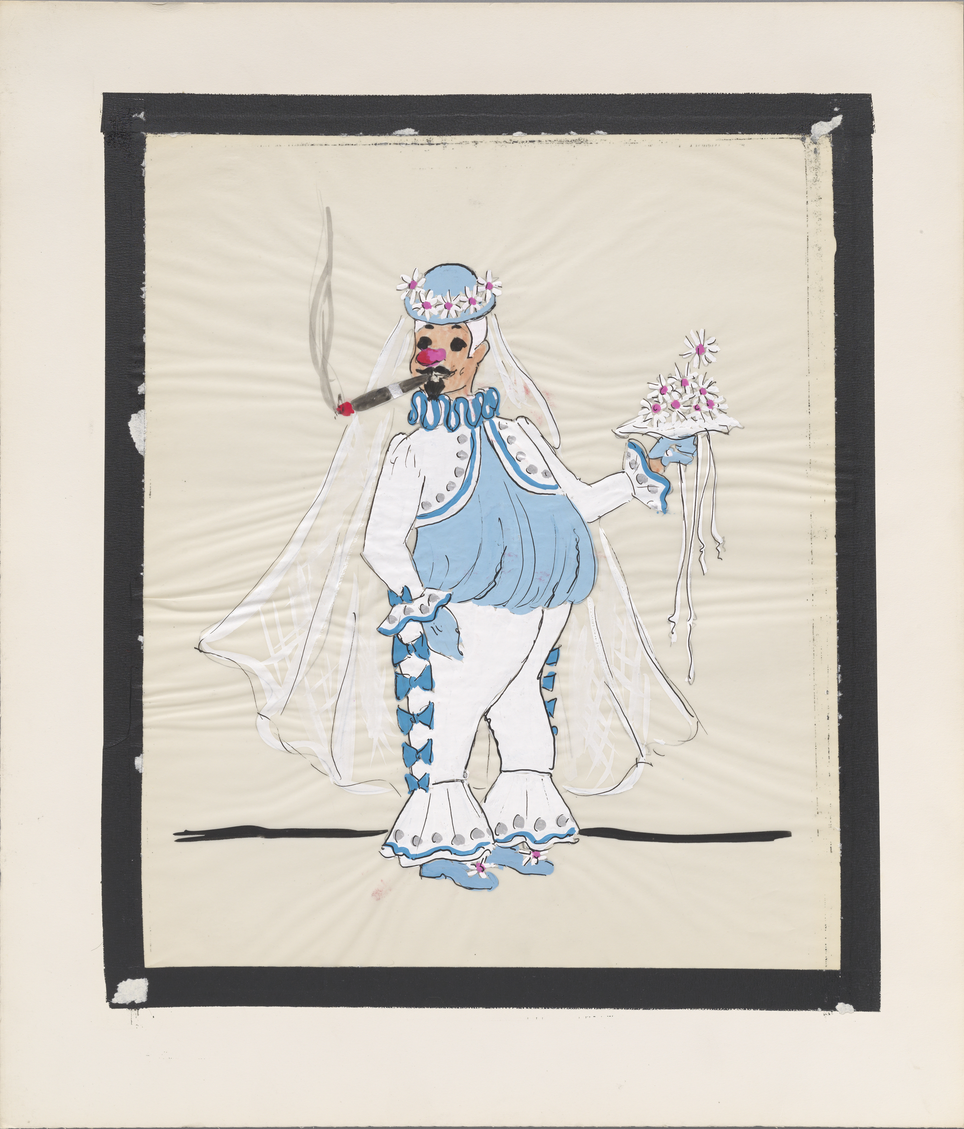 Hand-drawn sketch. Costume design depicting an androgynous clown figure wearing a bolero jacket with a veil and a bouquet smoking a cigar.