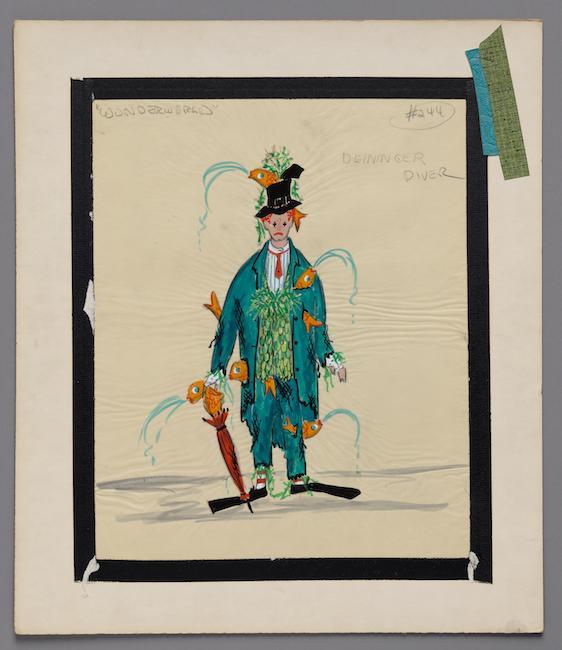 Boceto dibujado a mano. Diseño de vestuario para un payaso con un traje verde que no le queda bien lleno de peces escupiendo agua.