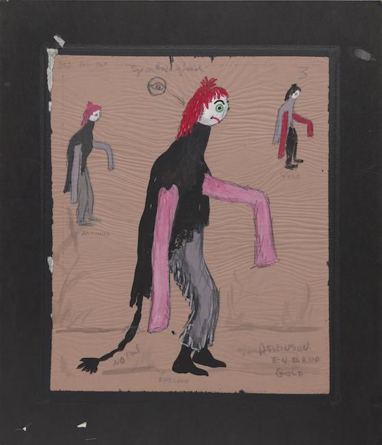Boceto de vestuario de una criatura alta con cabello rojo, mangas largas de color rosa y cola negra.