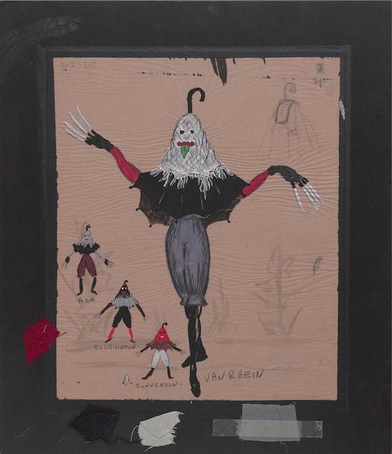 Boceto dibujado a mano. Diseño de vestuario para una criatura con pantalones grises, guantes negros con garras y un poncho de paraguas.