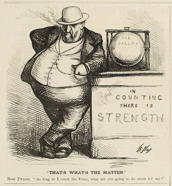 """Gravura de cartoon político desenhado por Thomas Nast. O Tweed """"Boss"""" está apoiado em uma urna eleitoral, que fica em um suporte que traz a inscrição: """"Na contagem há força""""."""