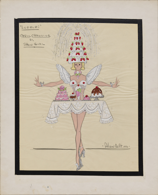 Hand-drawn sketch of a woman dressed as a suggestive table of desserts, wearing a six tiered strawberry cake on her head.