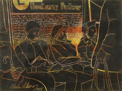 Crayon and acrylic painting of five seated and standing passengers on the L train to Rockaway Parkway