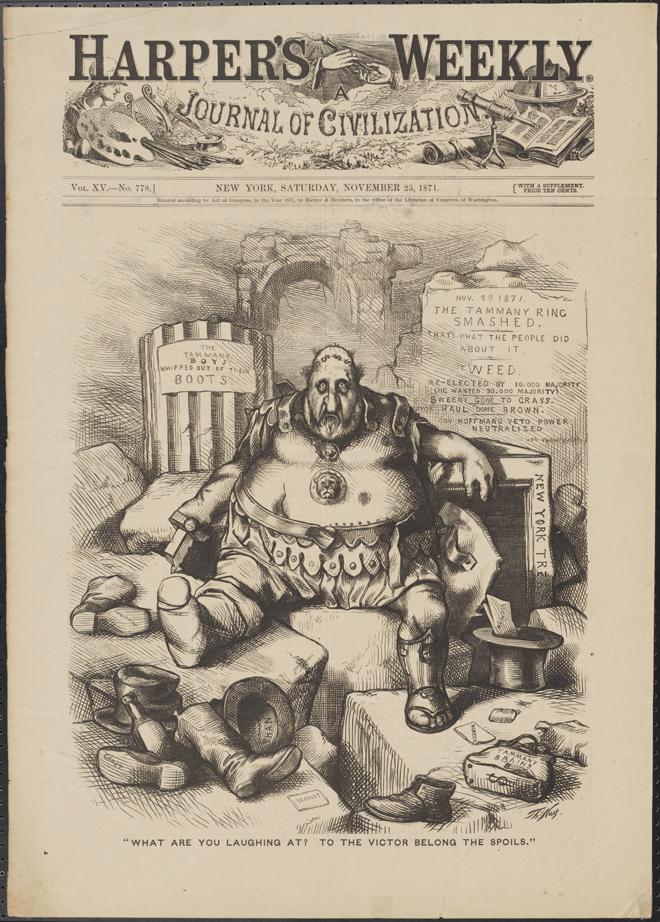 """Thomas Nast (1840-1902). """"Ce qui vous fait rire? À The Victor Belong the Spoils. »1871. Musée de la ville de New York. 99.124.2"""