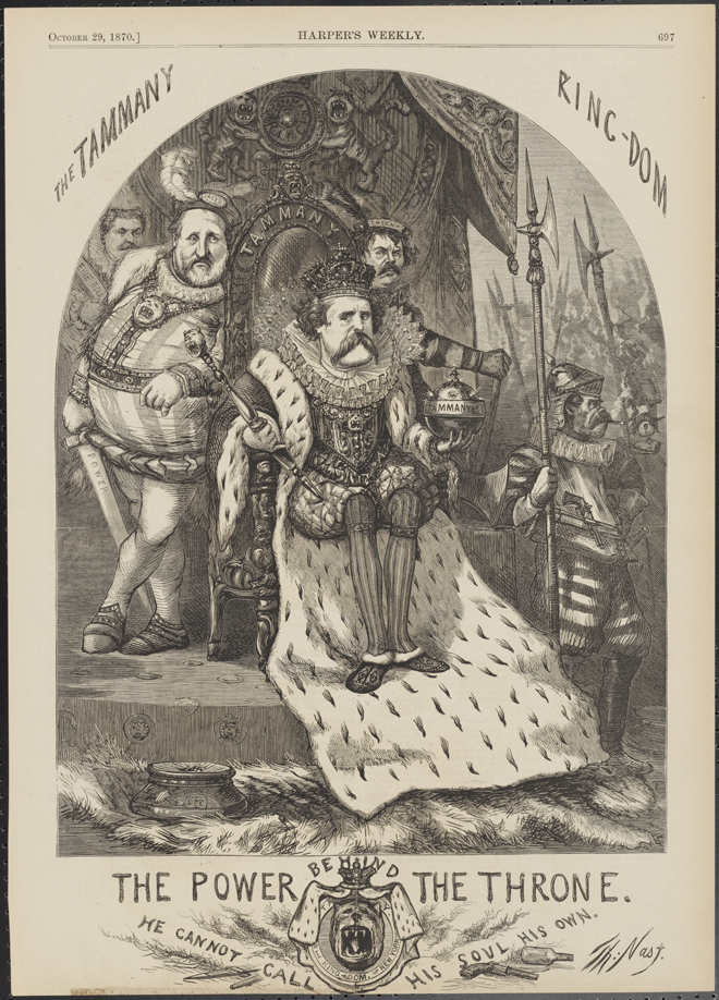"Thomas Nast (1840-1902). The Power Behind the Throne ""He Cannot Call His Soul His Own."" 1870. Museum of the City of New York. 99.124.7"