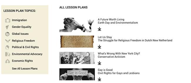 アクティビストニューヨークのオンライン展示のレッスンプランのリスト