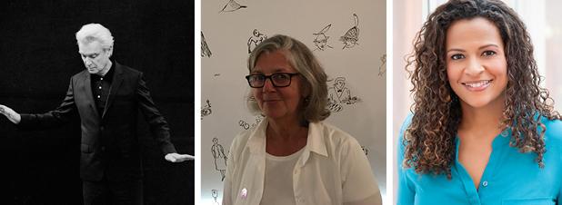 David Byrne head shot (foto em preto e branco); Tiro na cabeça de Maira Kalman, tiro na cabeça de Alison Stewart