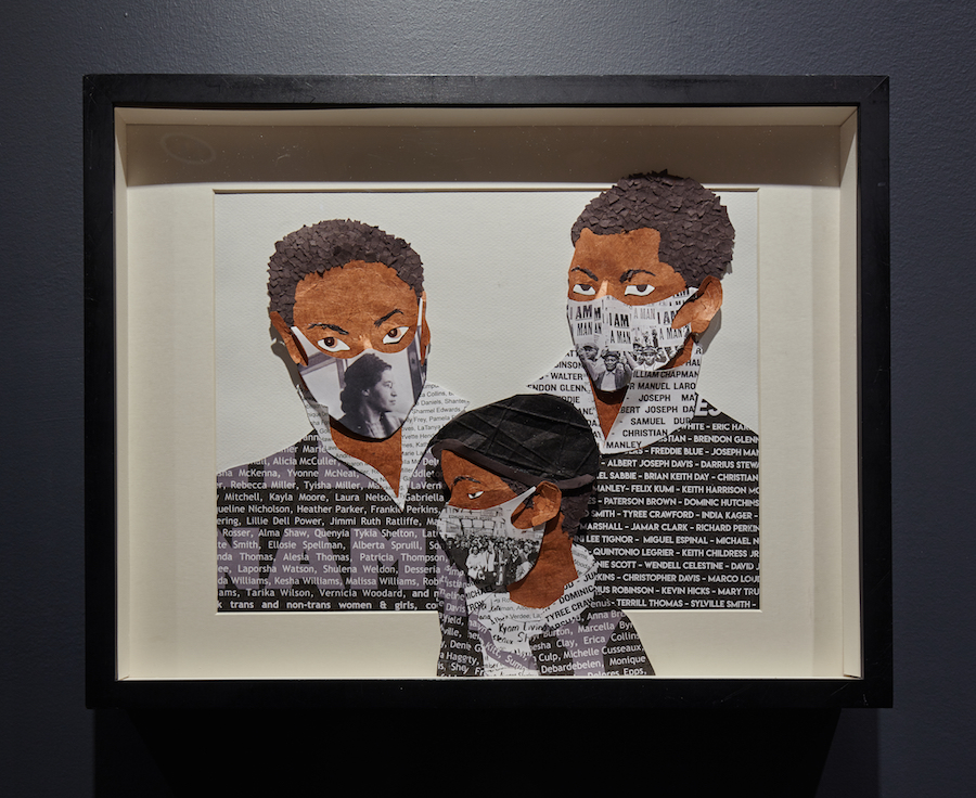 A paper relief sculpture collage of three boys of color wearing face masks that each show a moment of civil rights activism. On their shirts are the names of those who died fighting for their rights.