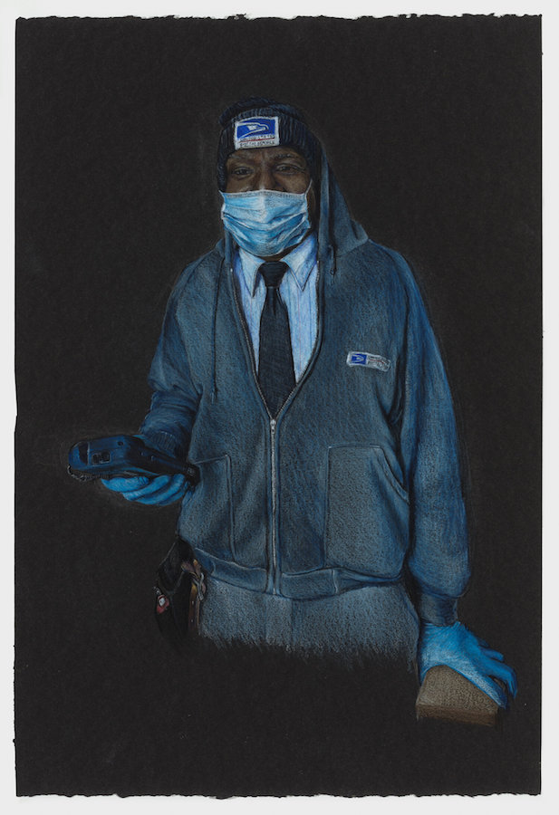 A colored-pencil drawing of a man in a postal worker's knit hat and hoodie over a button-down shirt and tie stands holding a package and scanner. He is also wearing blue rubber gloves and a face mask.