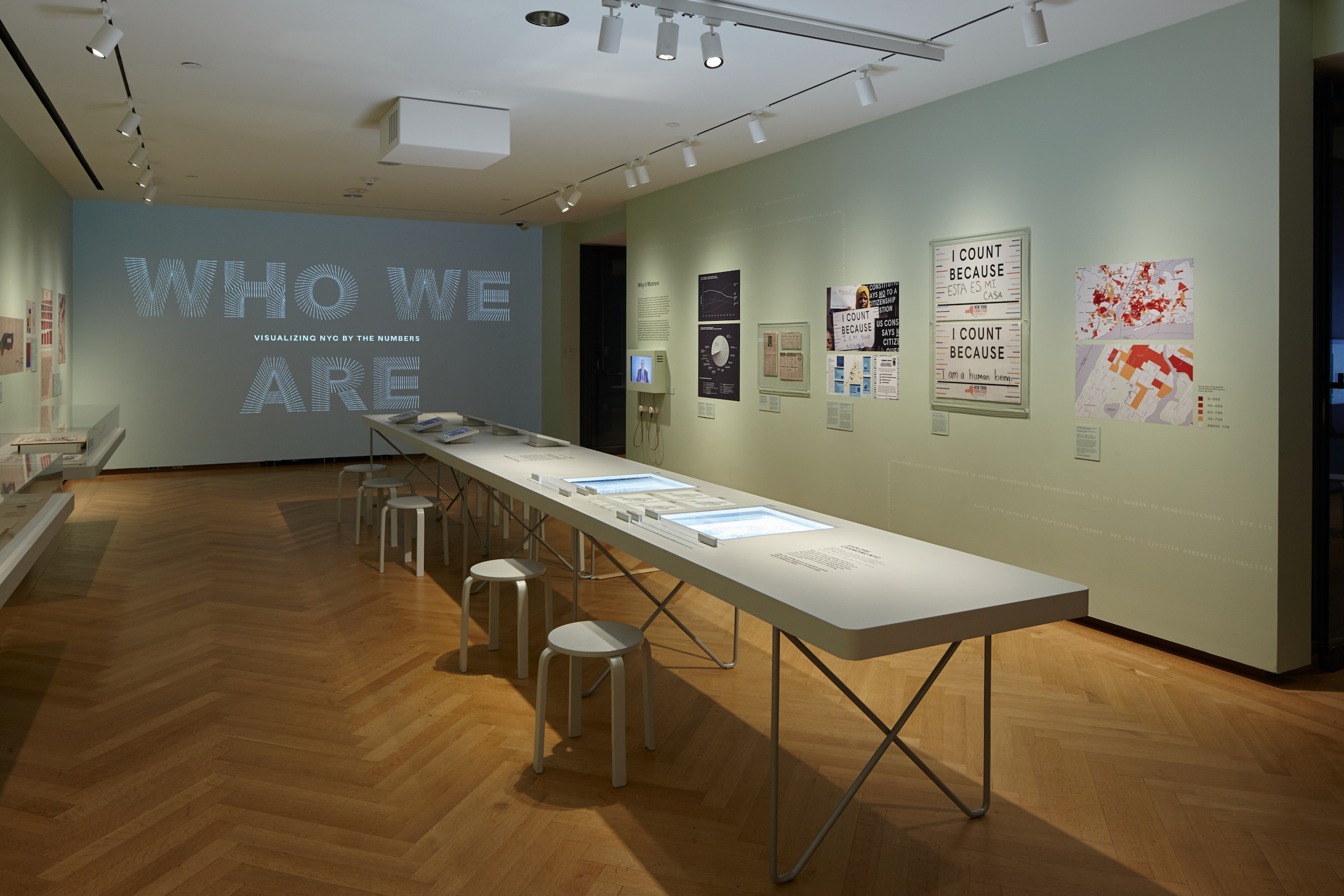 Installation view of Who We Are: Visualizing NYC by the Numbers.