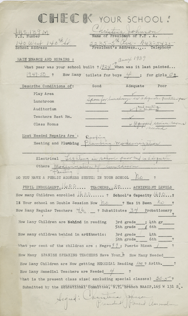 1950 년대에 Ella Baker와 NAACP가 뉴욕시 공립학교 내 인종 불평등을 확인하는 데 사용 된 설문지입니다.