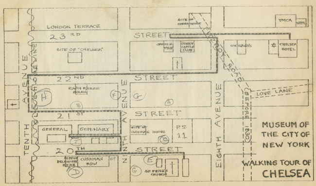 Hand-drawn map of a walking tour of Chelsea showing highlights between 8th and 10th avenues and 20th and 23rd streets.