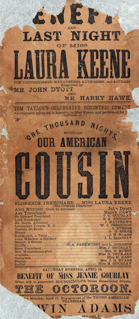 "Broadside anunciando a performance de ""Our American Cousin"" no Ford's Theatre em Washington, DC em 1865."