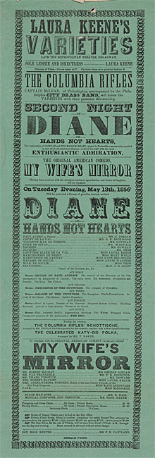 Broadside annonce la performance de «Diane; ou, Hands Not Hearts »le mardi soir 13 mai 1856 chez Laura Keene's Varieties.