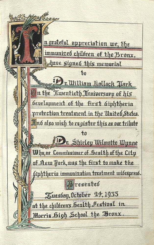 Book page with decoration on the left side, and text on the rest of the page thanking doctors for diphtheria immunizations