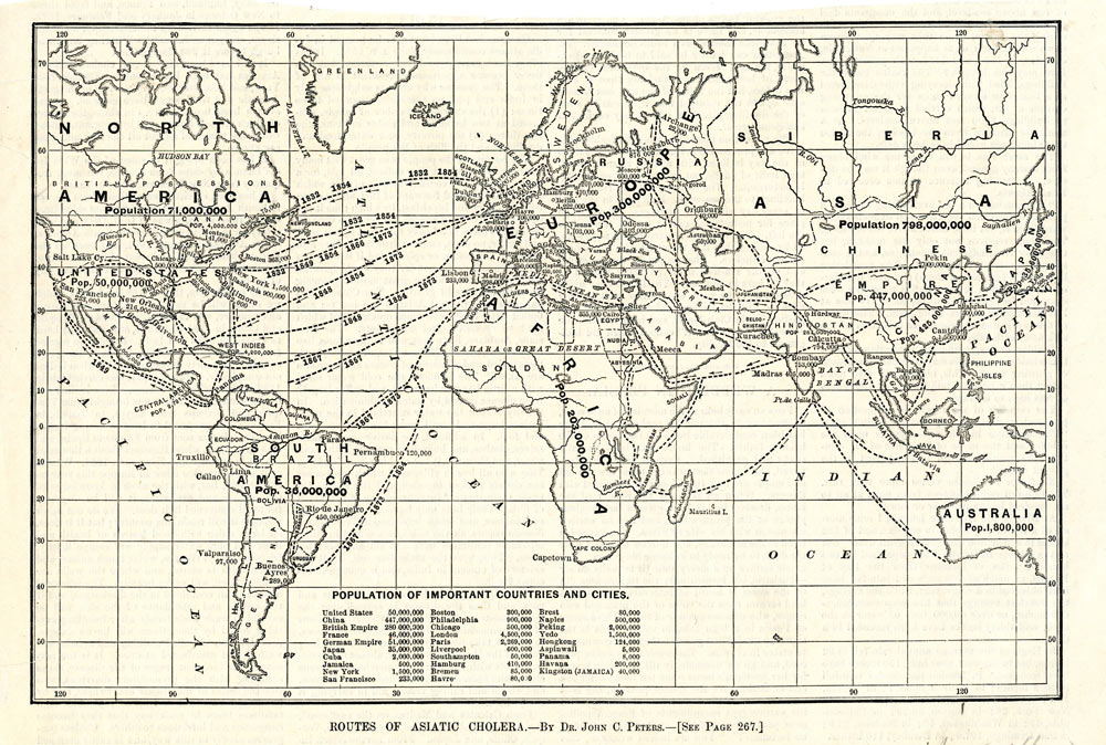 Black and white map of the world, with paths demonstrating the routes taken to travel between different nations
