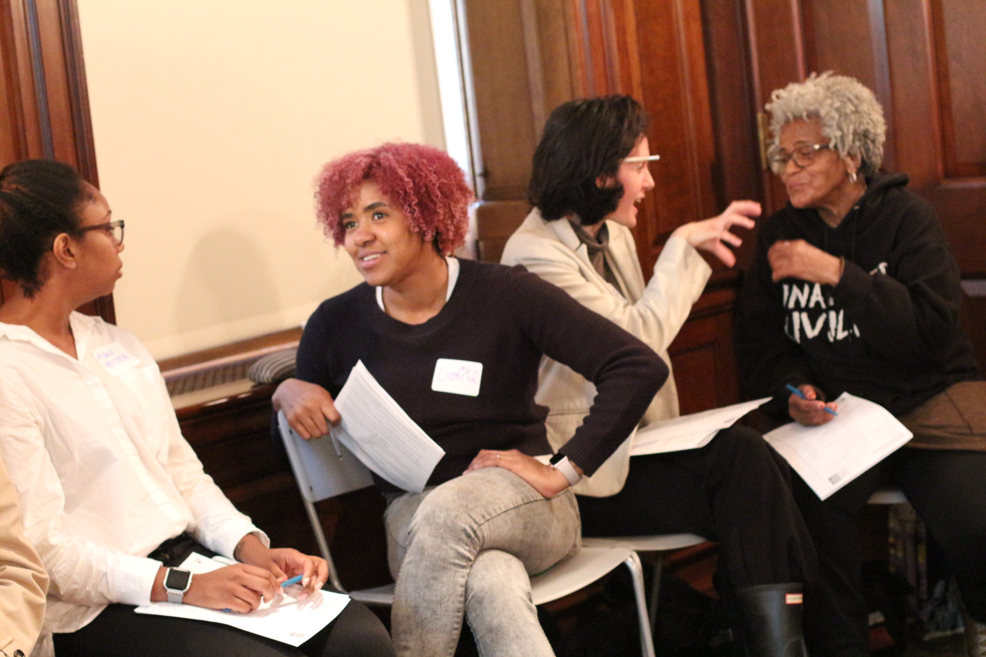 Teachers in conversation during a workshop at the Museum of the City of New York.
