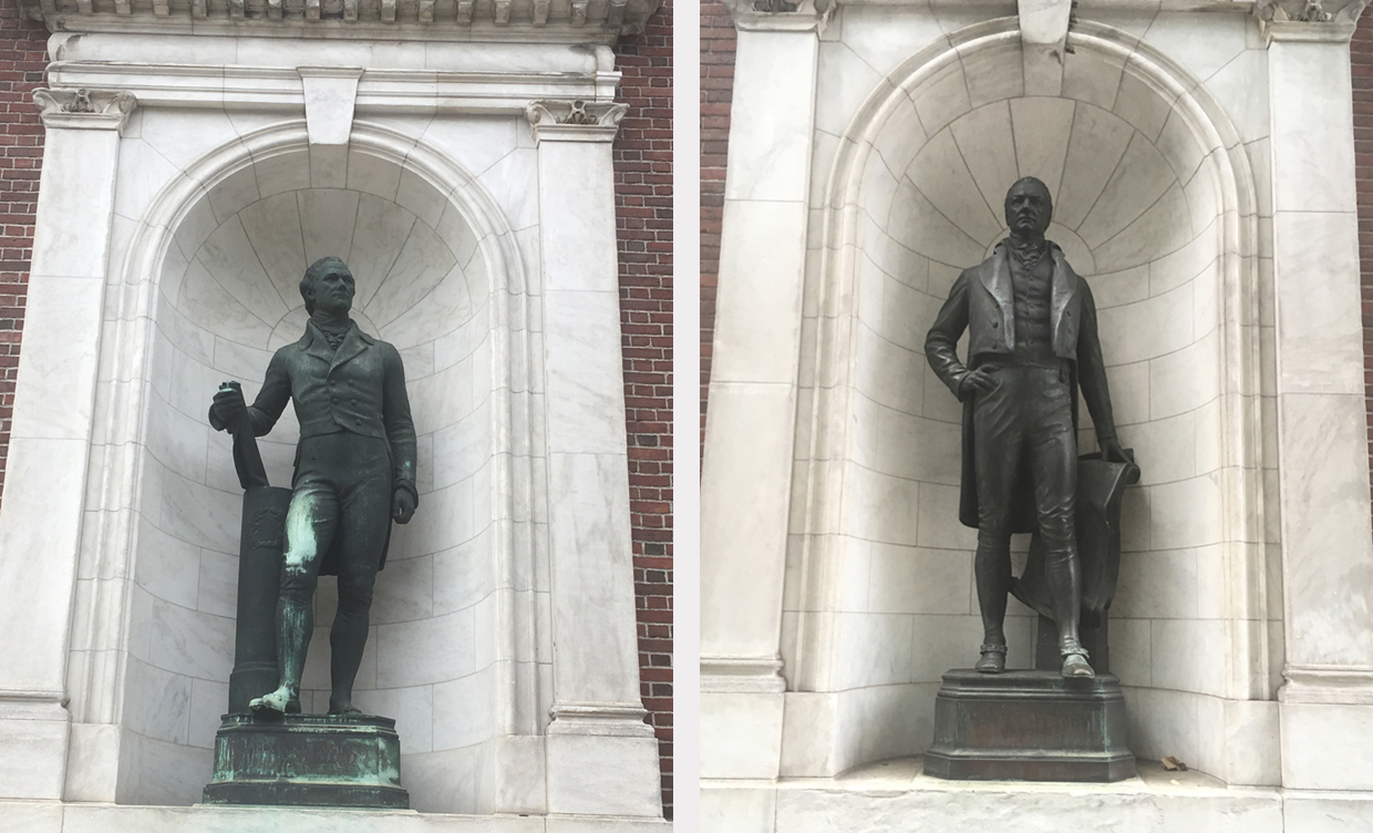 Alexander Hamilton and DeWitt Clinton sculptures