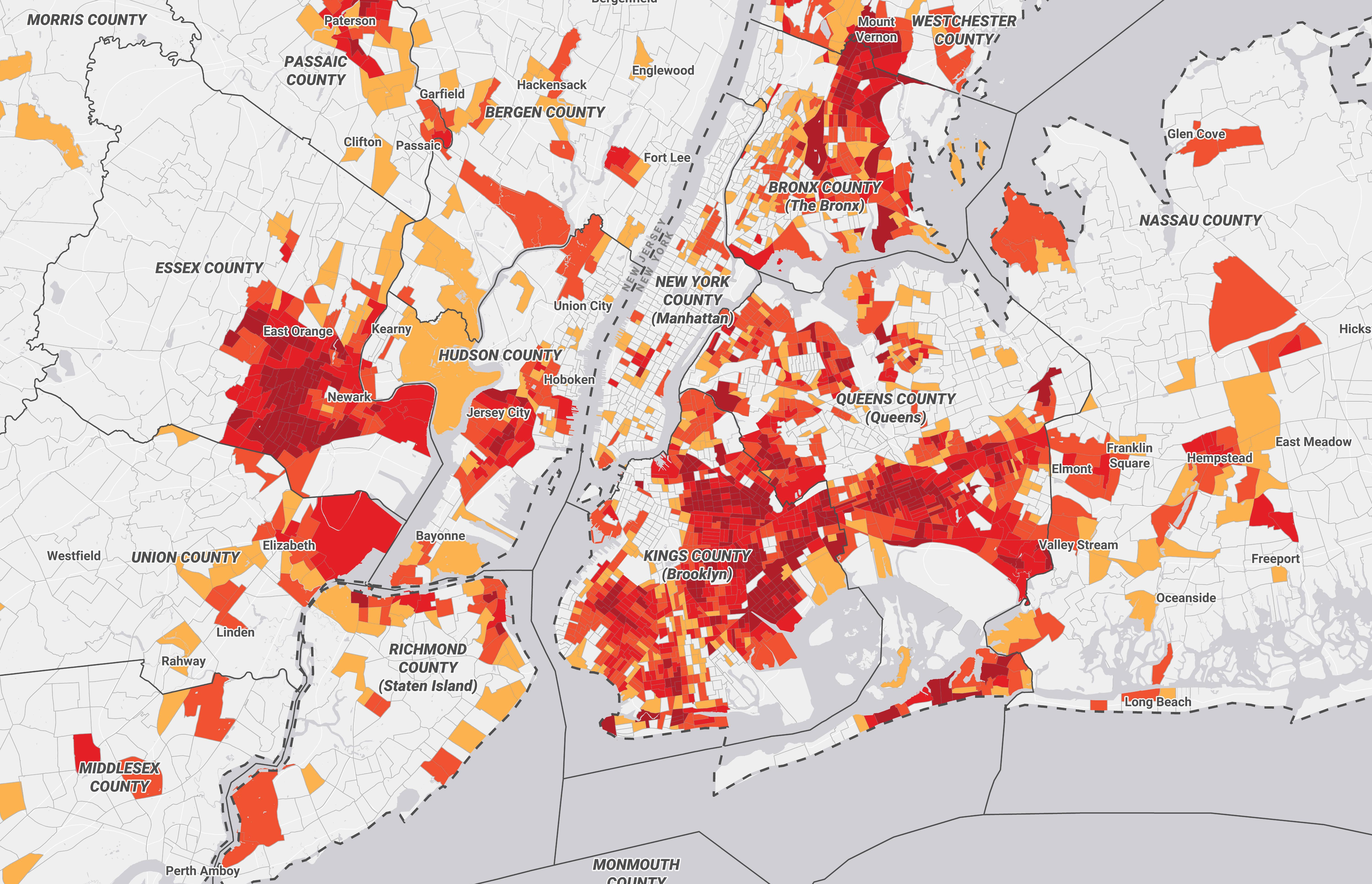 Greater New York City map of census tracts at risk of an undercount, 2019