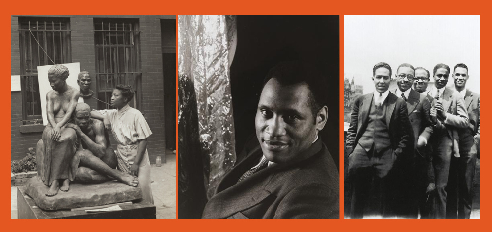 Augusta Savage with one of her pieces, Paul Robeson head shot, Author Langston Hughes [far left] with [left to right:] Charles S. Johnson; E. Franklin Frazier; Rudolph Fisher and Hubert T. Delaney