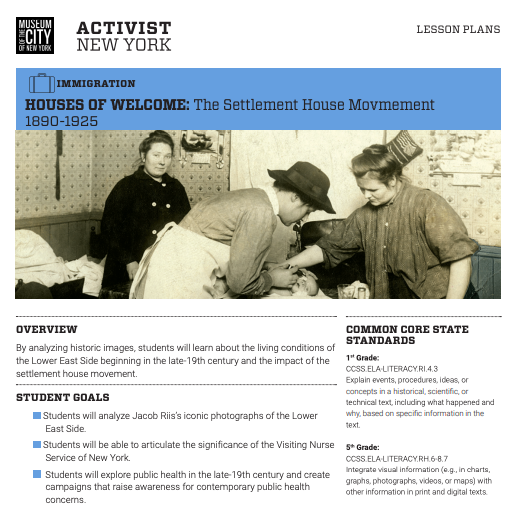 "Screenshot of the lesson plan for ""Houses of Welcome: The Settlement House Movement, 1890-1925."""