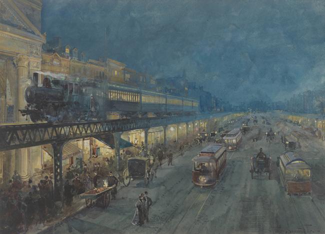 Cette aquarelle représente une locomotive à vapeur tirant un train surélevé la nuit. Une rue animée ci-dessous a de nombreux piétons et calèches.