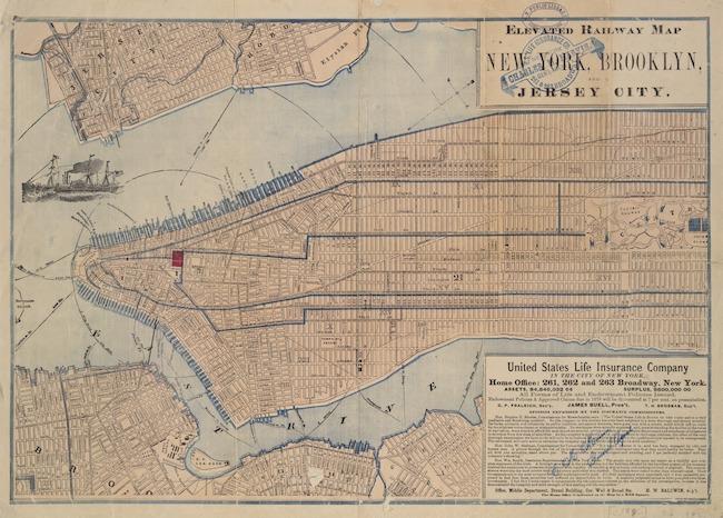 Carte montrant les lignes de train surélevées de Manhattan.