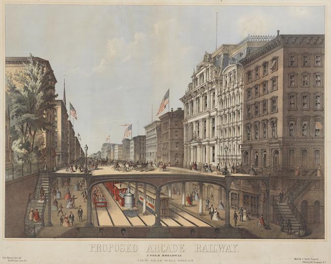 Dessin en couleur montrant une coupe d'une rue de la ville avec des bâtiments sur les côtés, des voies ferrées au sol et une plate-forme surélevée pour les piétons.