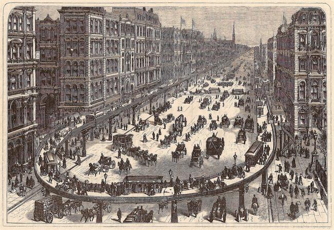 La gravure représente une rue animée de la ville remplie de chevaux, de charrettes et de gens. Une plate-forme courbe et surélevée avec des piétons supplémentaires et de petits stands borde la rue.