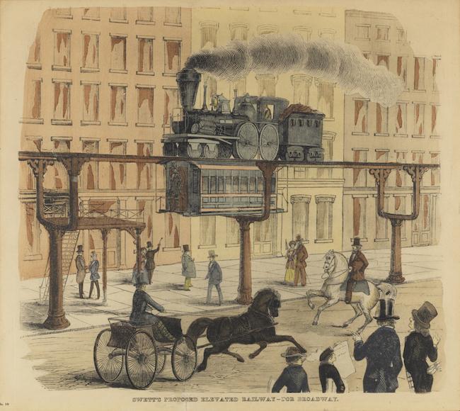 Le dessin en couleur montre une rue avec des charrettes tirées par des chevaux et des piétons, avec une plate-forme surélevée et un wagon.
