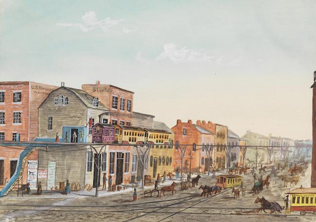 Cette aquarelle représente une locomotive à vapeur tirant un train surélevé. Deux des tramways tirés par des chevaux de la ville sont visibles dans les rues ci-dessous, y compris une voiture de la route croisée Grand, Vestry et Desbrosses Street, qui dans les années 1880 passait sous pas moins de quatre voies ferrées surélevées.