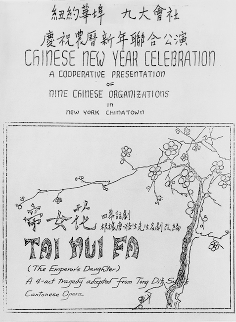 Program cover for the New Year's pageant Chinese characters and English text give the title and information on the top of the page, a drawing of a branch with flower blossoms with additional text in a frame is below.