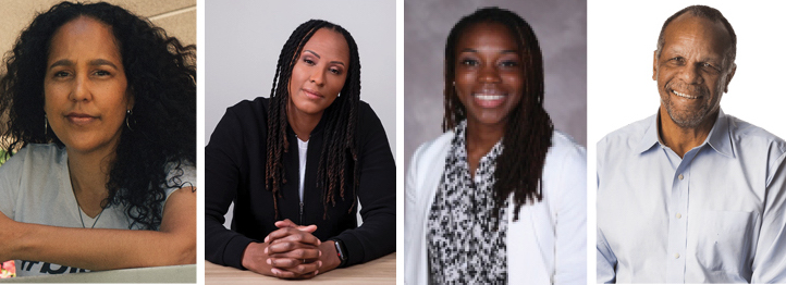 Headshots of Gina Prince-Bythewood; Chamique Holdsclaw; Priscilla Edwards; William Rhoden