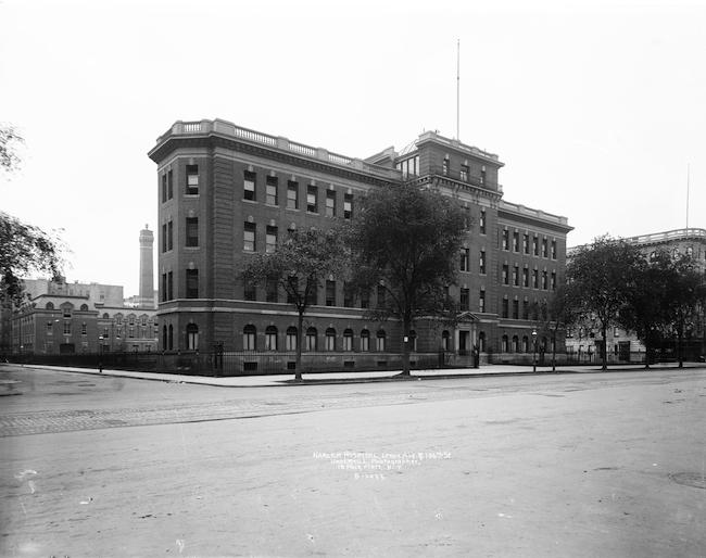 Fotografia em preto e branco do Hospital Harlem.