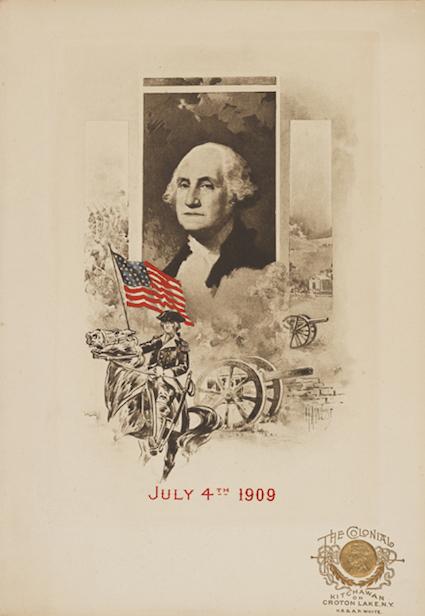 Portada del menú de 1909 con un retrato en blanco y negro de George Washington y el dibujo del general Washington a horcajadas sobre su caballo, sosteniendo una bandera estadounidense, con cañones y campo de batalla en el fondo.