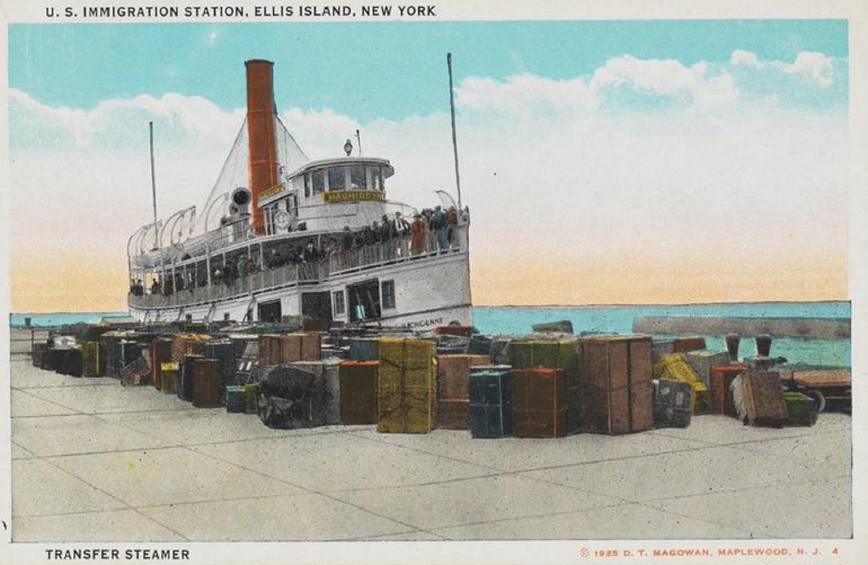 Postcard of U.S. Immigration Station, Ellis Island, New York. Transfer Steamer.