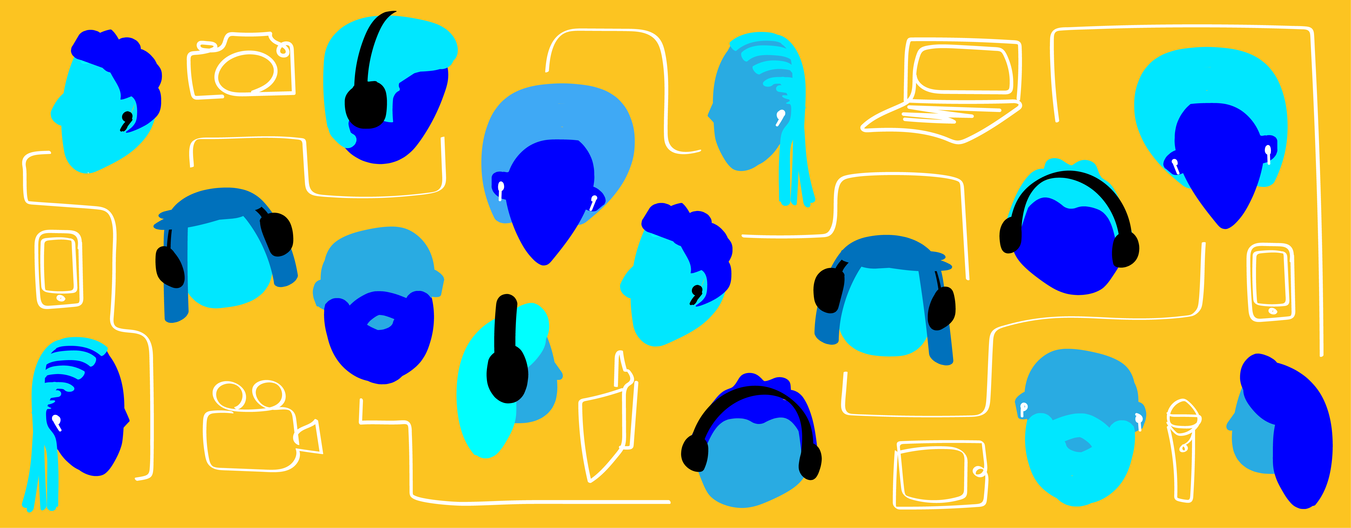 Graphic showing heads, some wearing headphones, and various devices such as phones, computers, and tablets