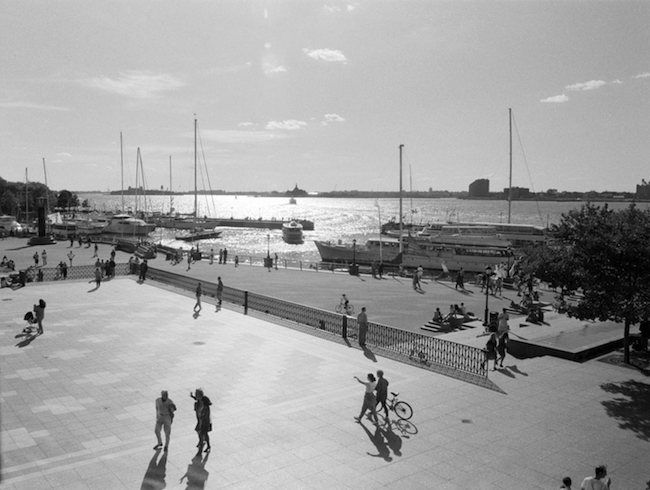 Black and white photo of Battery Park and waterfront.