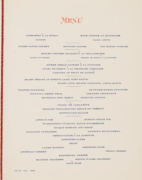 """Menú impreso de varios platos el 4 de julio de 1906, cena. Presenta los nombres de cada plato impresos en azul, """"Menú"""" impreso en la parte superior con tinta roja."""