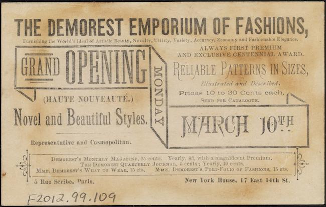 カードの裏面にある黒のテキストはDemorest Emporium of Fashionsを宣伝しています