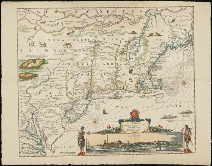 Mapa do início dos EUA, mostrando o nordeste com uma cartela representando Nova Amsterdã.