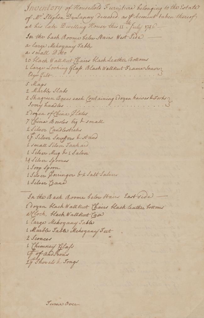 Inventario manuscrito de muebles domésticos en la mansión del difunto Stephen De Lancey, 115 Broadway, 11 de julio de 1746