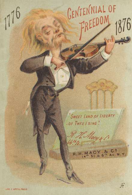 : Booklet of the R.H. Macy & Co. at Fourteenth Street and Sixth Avenue, showing a man playing the violin.