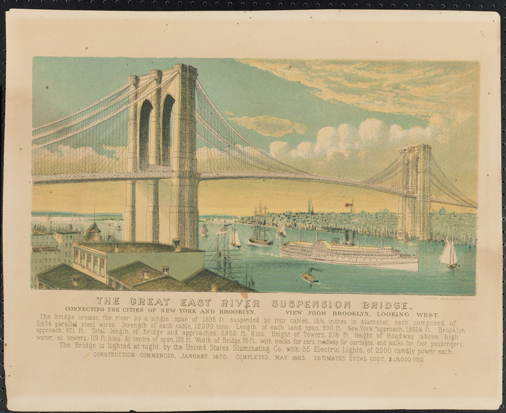 Currier & Ives. The Great East River Suspension Bridge, 1881.