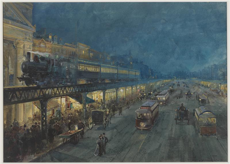 William Louis Sonntag, Jr .. Bowery à noite. ca. 1895. Aquarela (pintura). Museu da Cidade de Nova York. 32.275.2